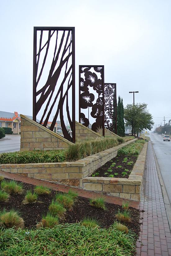 terraced sidewalk with rectangular design installed