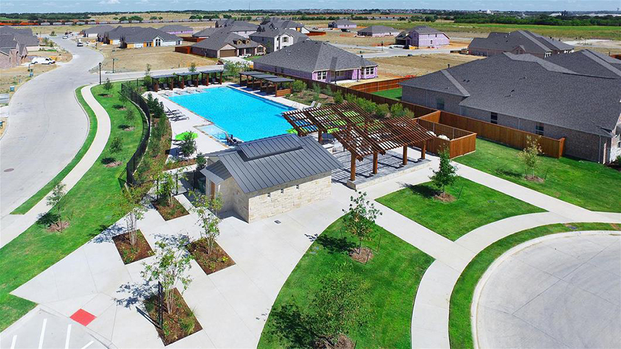 pool and yard of a new build home