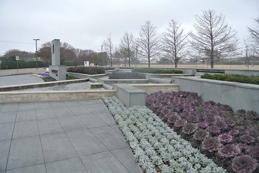 segment of a park with landscaped designs and rows of plants