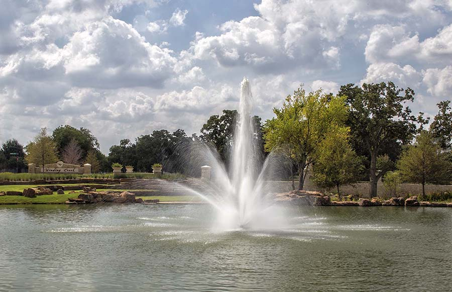 large fountain in the middle of the pound
